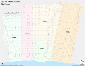 SM ziup code map 300x233 How easy is it to walk in Santa Monica?